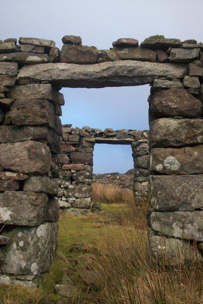 Dry stone walls of a Scottish Blackhouse